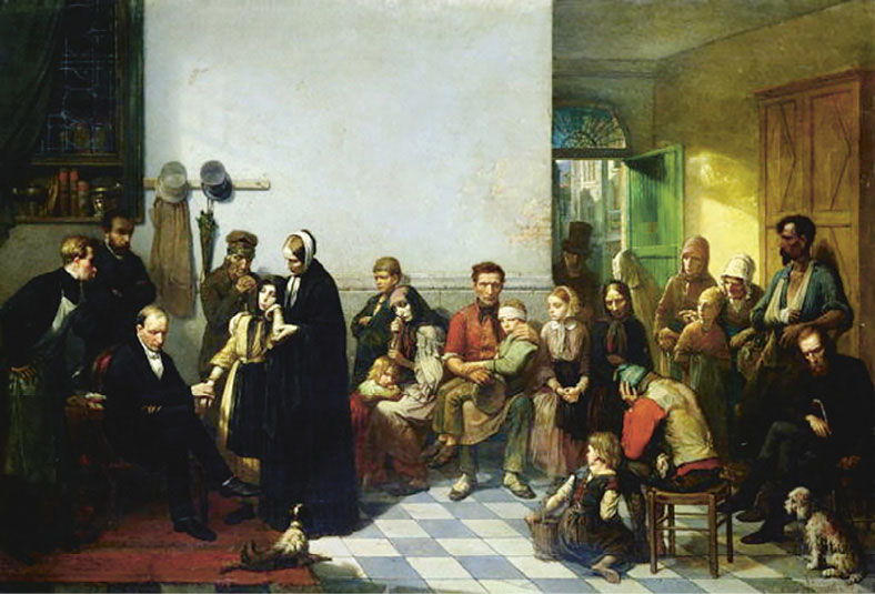 The doctor and the poor (olieverf). J.Leonard (1827-1879)